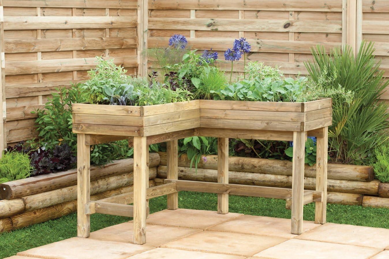 Elegante esquina mesa de madera maceta para plantas de hierbas y verduras – ideal para ambos permanente y silla de ruedas uso: Amazon.es: Jardín