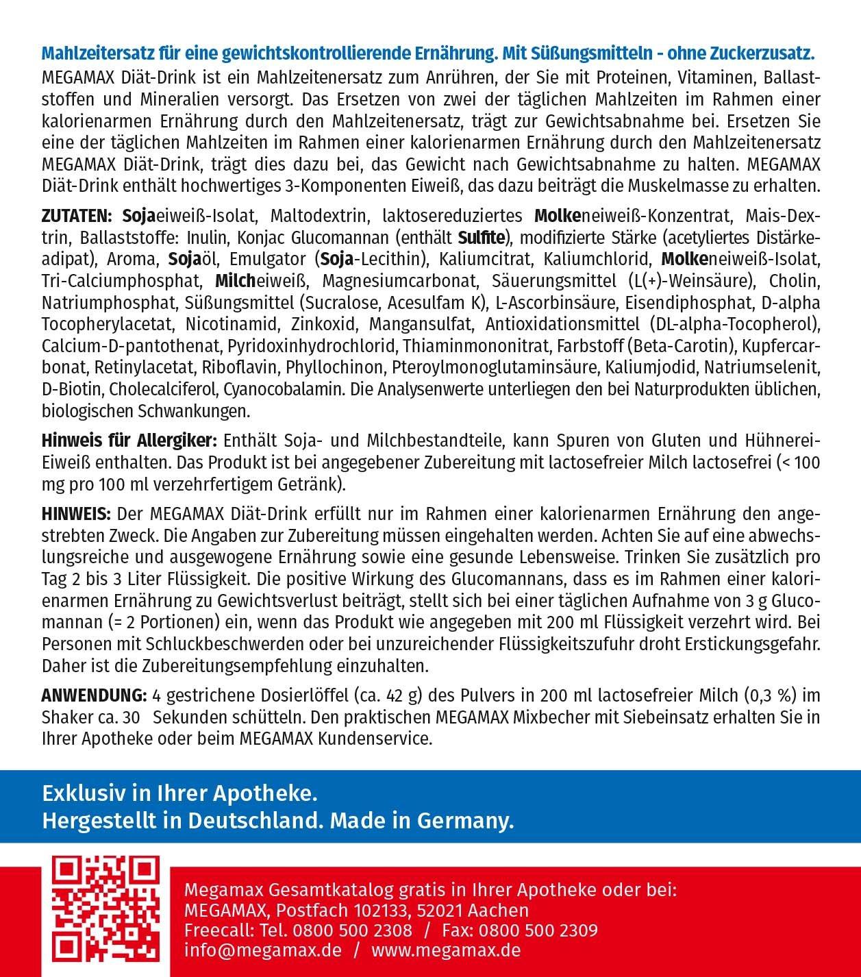 MEGAMAX - Diät Drink - Bebida en polvo para adelgazar y perder grasa - Vainilla - 425 g (10 raciones): Amazon.es: Deportes y aire libre