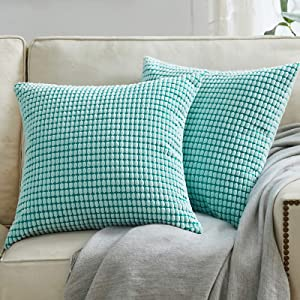BeBen Throw Pillow Covers - Set of 2 Pillow Covers 18x18, Decorative Euro Pillow Covers Corn Striped, Soft Corduroy Cushion Case, Home Decor for Couch, Bed, Sofa, Bedroom, Car (Light Blue, 18X18)
