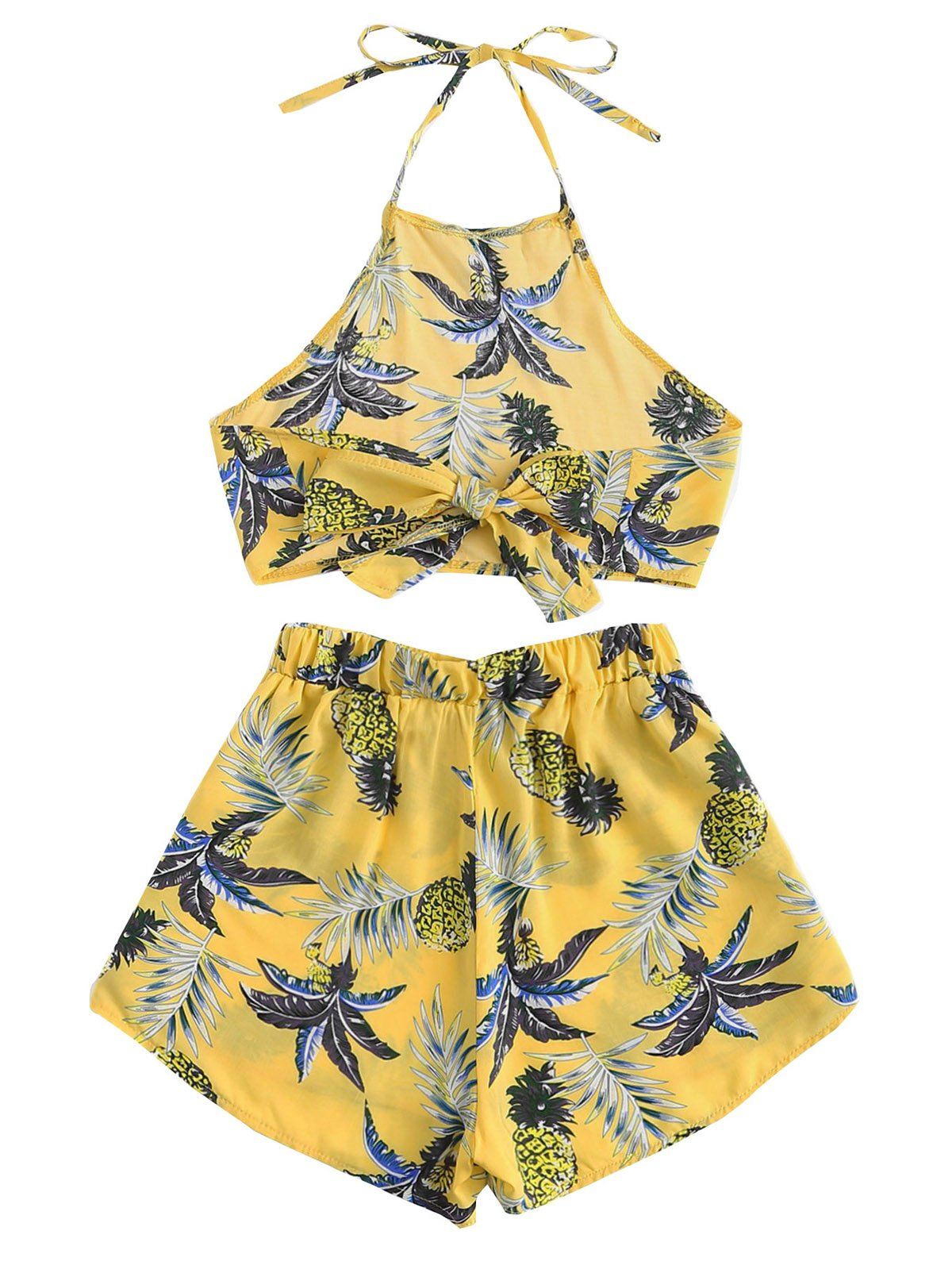 July A Women's 2 Piece Outfits Halter Sleeveless Crop Cami Top and Shorts Set Yellow S by July A (Image #2)
