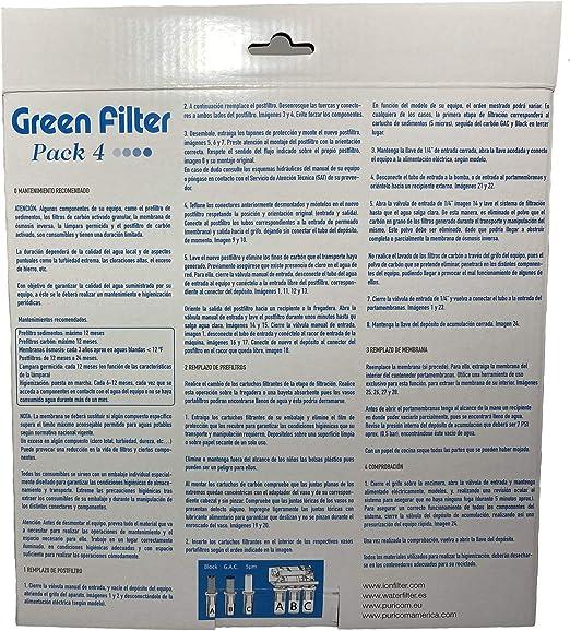 Pack 4 Filtros Ósmosis Inversa, Filtro 3 etapas más Postfiltro (4 Filtros), Estándar, Profesional, Garantizado, Compatible con Todos los Sistemas de ósmosis con Vasos de 10 Pulgadas del Mercado.: Amazon.es: Hogar