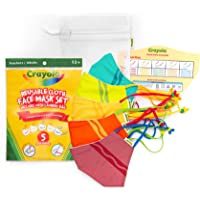 Crayola Adult Face Mask - 5 Reusable Cloth Face Mask Set, Crayola Stripe, Teacher Supplies