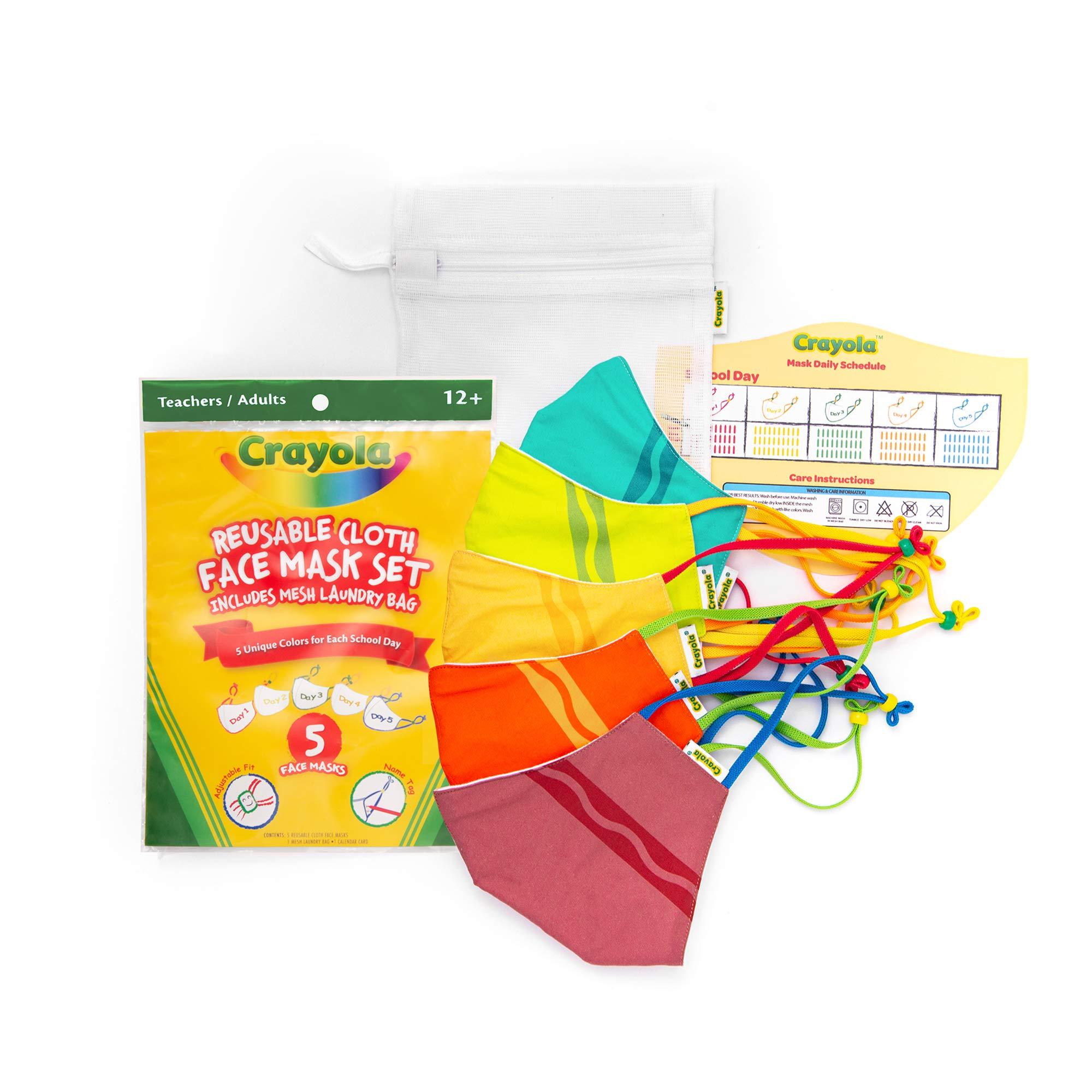 Crayola Adult Face Mask - 5 Reusable Cloth Face Mask Set Crayola Stripe Teacher Supplies