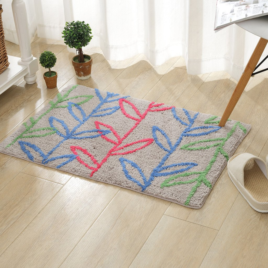 TOFERN 100% Cotton Chenille Shaggy Tree Non-slip Rug Fluff Absorbent Durable Skin-friendly Machine Washable Anti-fading Doormat Home Decor Carpet Entrance Mats Dirt Barrier Mats, Gray, 50X80cm
