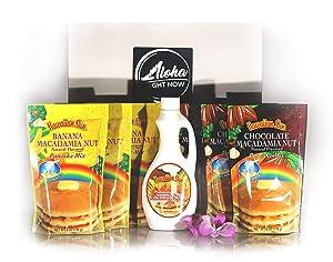 Aloha Right Now Hawaiian Breakfast Pack | Banana Macadamia Nut Pancake Mix 3PK |Chocolate Macadamia Nut Pancake Mix 3PK | 1 Premium Coconut Syrup 12.5oz | Original Aloha Right Now Sticker 4x4
