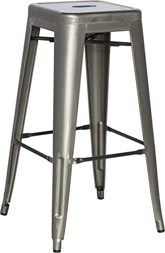 Chintaly Imports Gun Metal Galvanized Steel Barstool