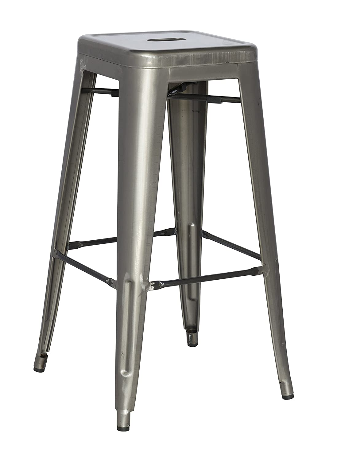 Chintaly Imports Gun Metal Galvanized Steel Barstools, Set of 4
