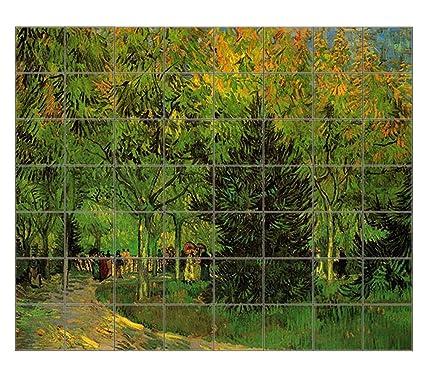 Lane Public Garden At Arles (Van Gogh) Horizontal Tile Mural Satin Finish  42u0026quot;