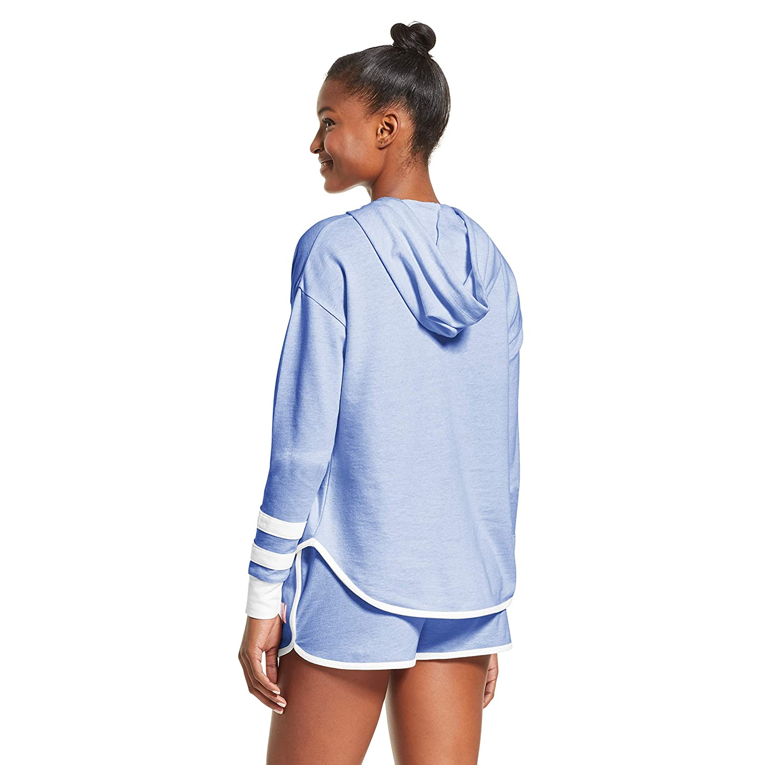 Polo Assn U.S Womens Cuffed Sleeve Athletic Hoodie Sweatshirt and Shorts Pajama Lounge Sleep Set