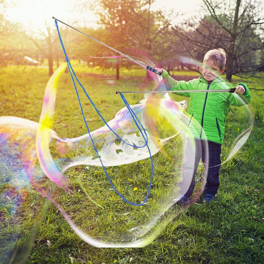 Laxus Bubble Wand Giant Large Bubble Wand Kids Adult-Stainless Steel Made Telescopic Design Easy Carrying Outdoors Bubble Party Favors Summer Toy-1 Set