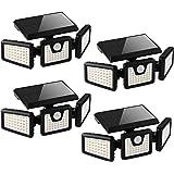Otdair Solar Security Lights, 3 Head Motion Sensor Lights Adjustable 118LED Flood Lights Outdoor Spotlights 360° Rotatable IP