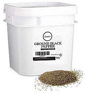 Sweeler, Bulk Ground Black Pepper - 20 Mesh, Value Large Bucket Size for Food Service & Home Use, 5lbs