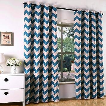 Vorhang Gardine Blickdicht Mit Sen Verdunkelungsvorhang Dekoschal Beige Blau Welle Muster Deko Fr Wohnzimmer Schlafzimmer 140x245cm