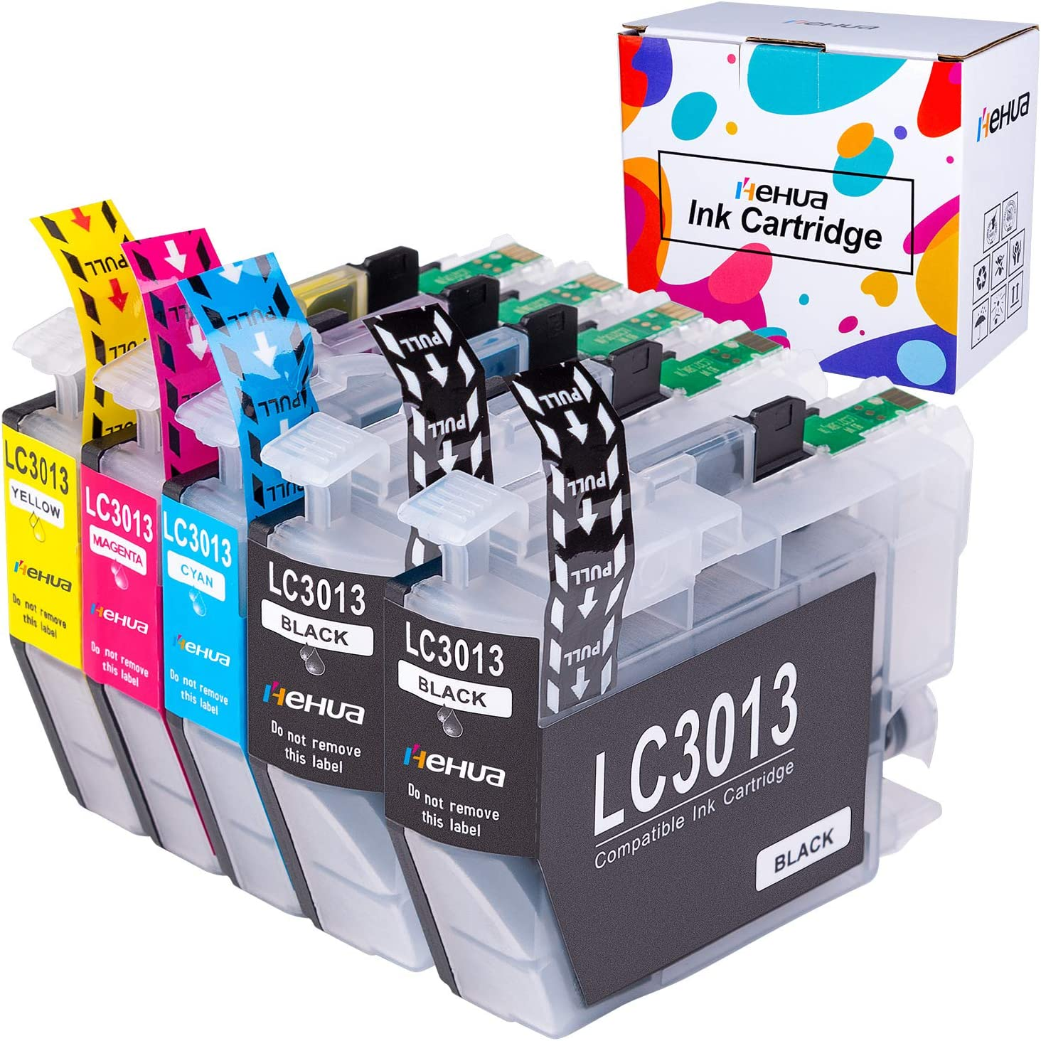 Hehua Compatible Ink Cartridges Replacement for Brother LC3013 LC-3013 XL LC3011 High Yield for Brother MFC-J895DW MFC-J690DW MFC-J491DW MFC-J497DW (2Black, Cyan, Yellow, Magenta, 5 Packs)
