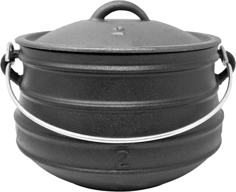 Potjie, olla para barbacoa #2plana (sin pies), olla de hierro fundido holandés sudafricano, tamaño: aprox. 6 l