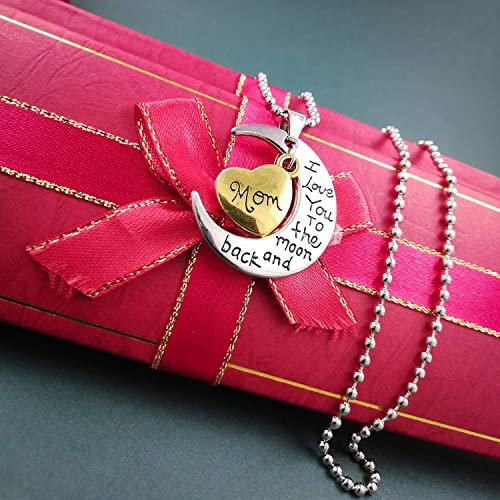 Pendant Necklace for Women Sacow Exquisite Mom Letter Love Shaped Diamond Necklace Silver