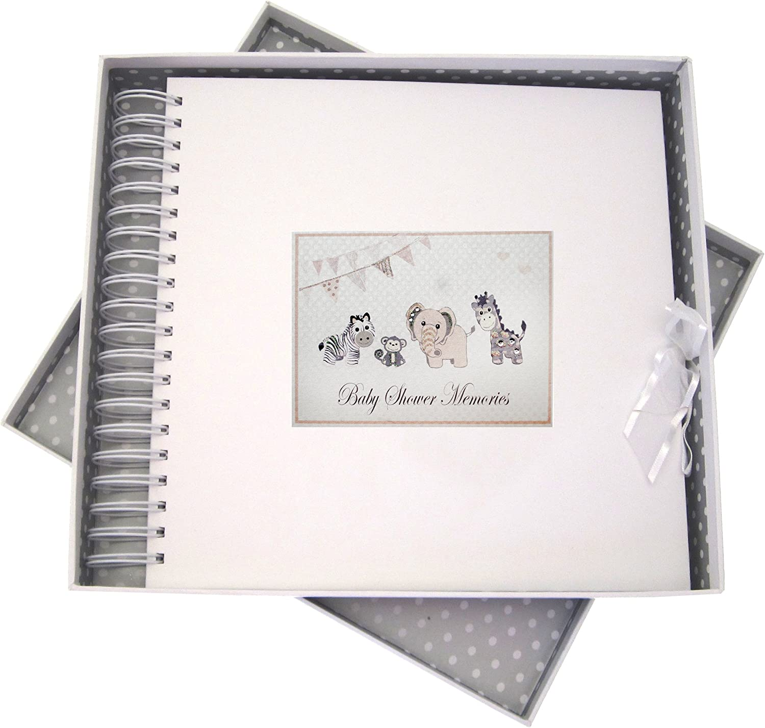 Board Card and Memory Book Silver Toys 27 x 30 x 4 cm Animals WHITE COTTON CARDS Baby Shower