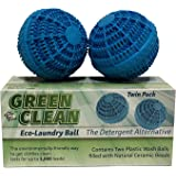 Green Clean Eco Laundry Washer Balls -Environmentally Friendly Non-Toxic Detergent Alternative, 2 Pack
