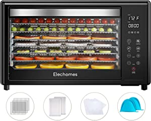 Elechomes Food Dehydrator Machine, Commercial Dehydrator 8 Trays 304 Stainless Steel, 9-Piece Free Accessories, 4 Presets for Fruit, Meat Beef Jerky, Herbs, Vegetables, Digital Timer and Temperature Control, Clear Tempered Glass Door, Touch Screen, 50 PDF Recipes, BPA Free