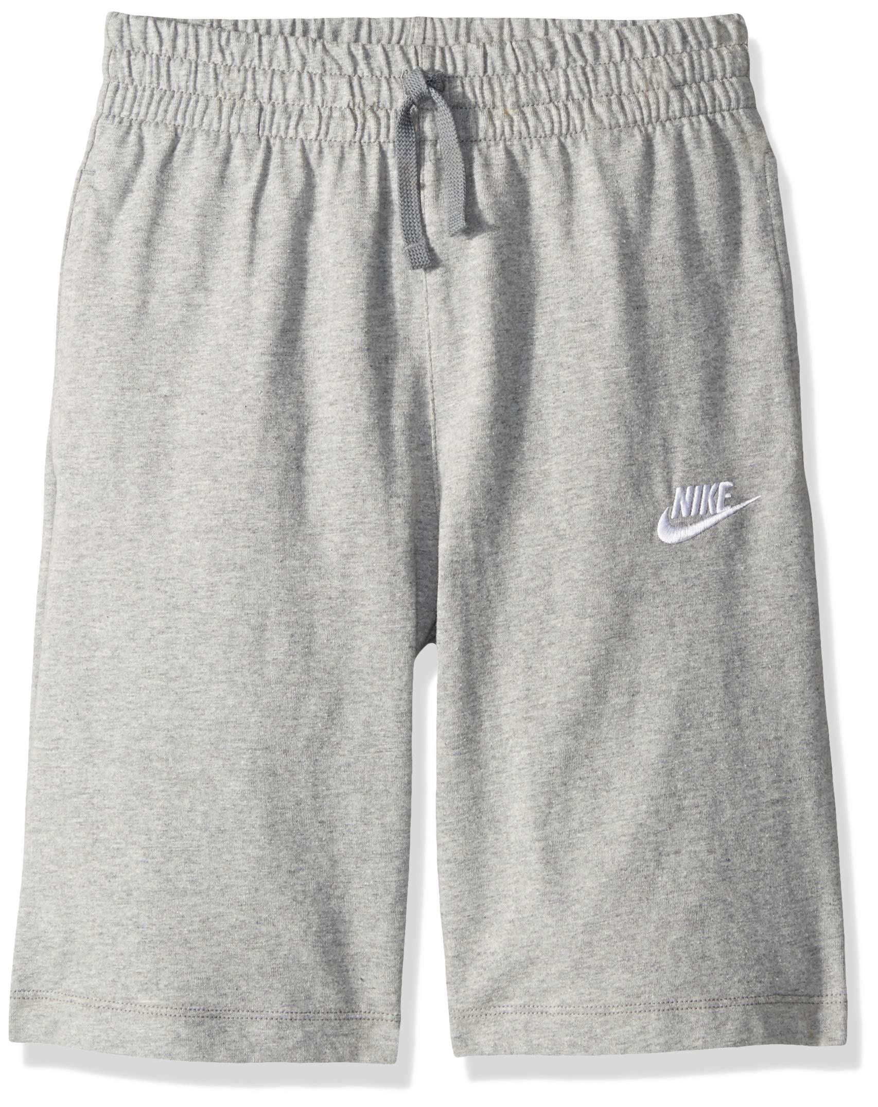 NIKE Sportswear Boys' Jersey Shorts, Dark Grey Heather/Dark Steel Grey/White, Large