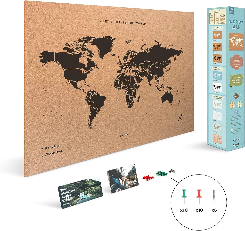 Miss Wood Map XL - Mapa del mundo de corcho, 60 x 90 cm, Negro ...