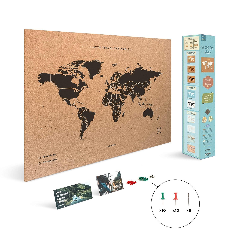 45 x 60 cm Mappa del mondo di Sughero Naturale//Bianco Miss Wood Map L