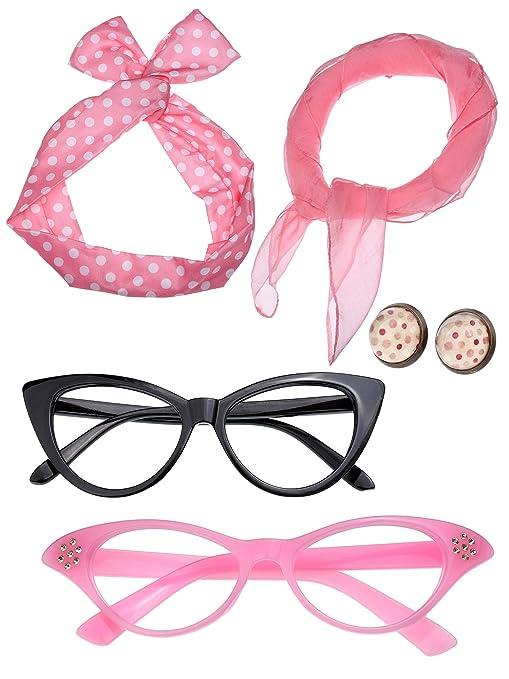 Donna Anni 50 Accessori Costume Set Ragazza Sciarpa Fascia per Capelli  Orecchini Occhiali Occhio di Gatto ae50db27c62