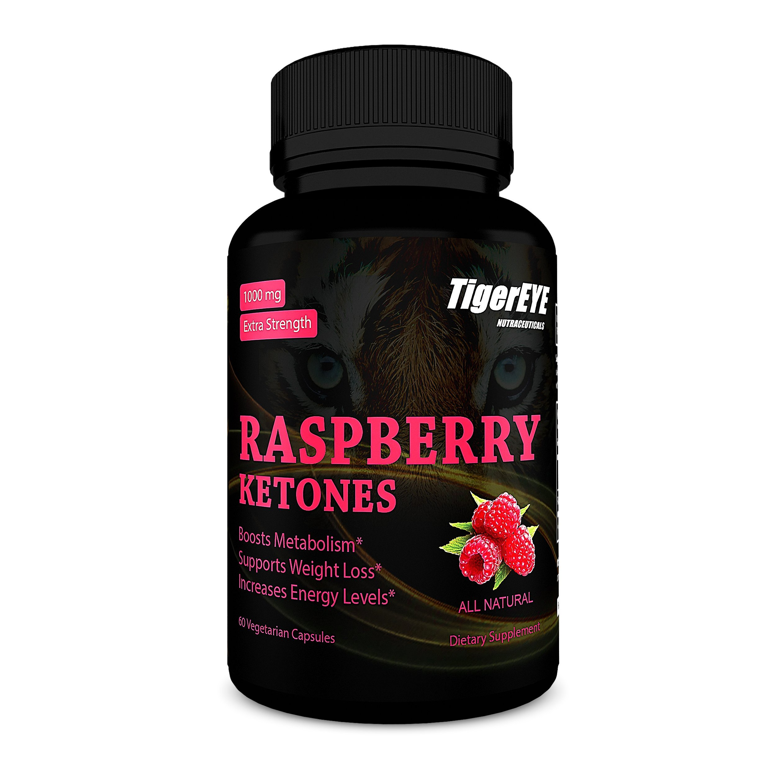 100% Pure Raspberry Ketones Extract NEW Extra Strength Appetite Suppressant, Energy Booster, All Natural, 60 Vegetarian Capsules by Tigereye Nutraceuticals