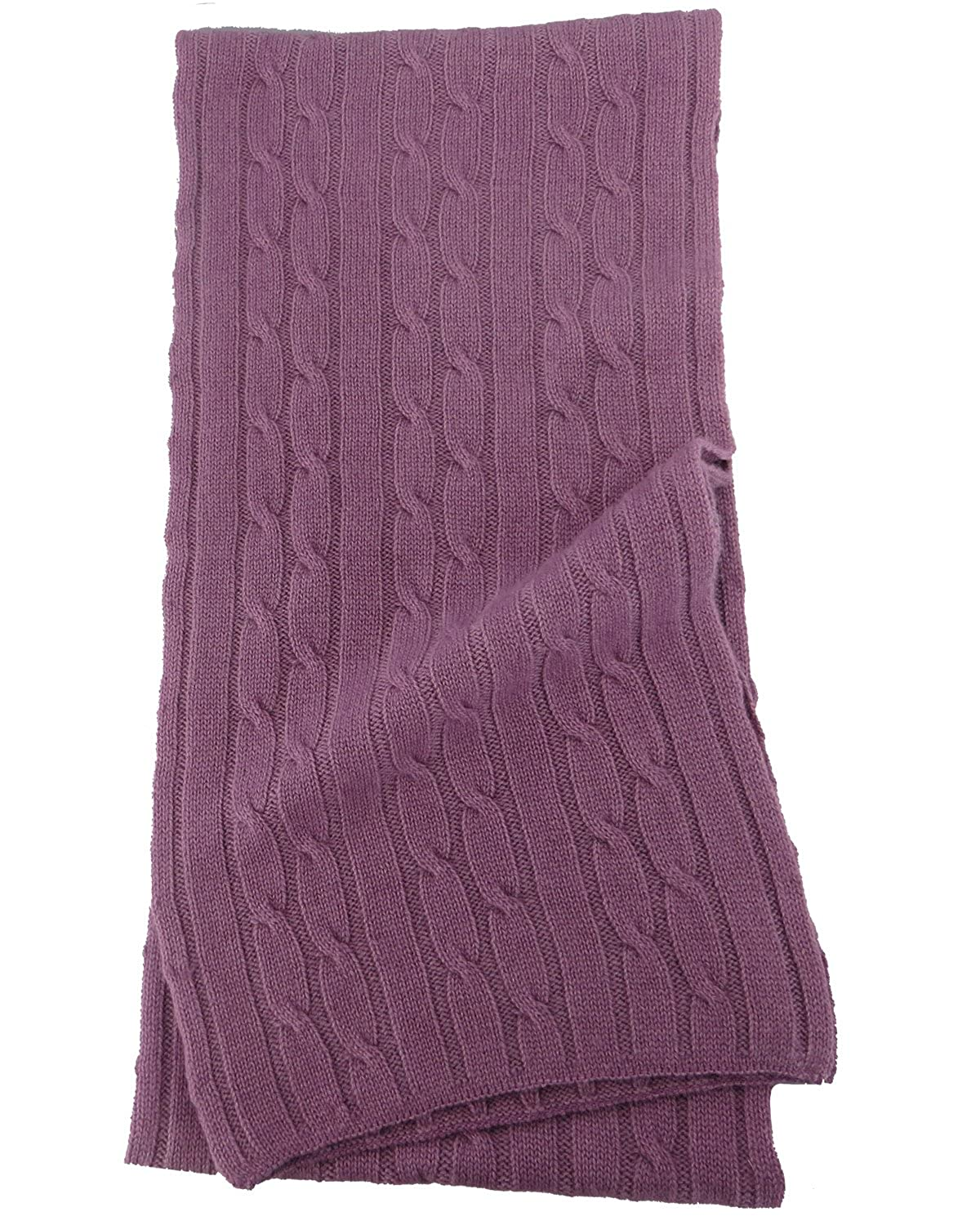 Pure Cashmere Cable Knit Scarf Solid Colors CB-SC-PS02-18LL