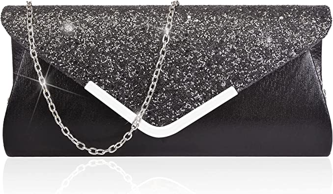 SPARKELY BLACK Ladies Clutch//Hand Bag Wedding Prom,Evening Party.Great Quality