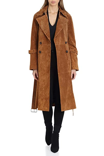 Avec Les Filles Women's Suede Mid Length Double Breasted Trench Coat by Avec+Les+Filles