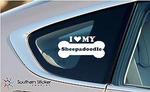 I Love My Sheepadoodle Dog Bone Puppy Symbol White Vinyl Car Sticker Symbol Silhouette Keypad Track Pad Decal Laptop Skin Ipad Macbook Window Truck Motorcycle