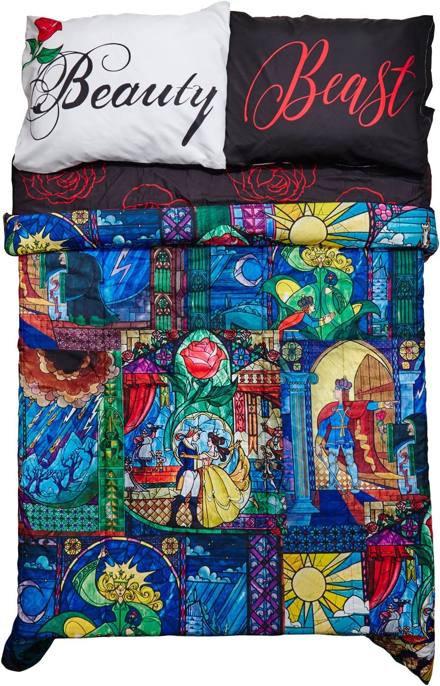 Amazon Com Beauty And The Beast Disney Stained Glass Full Queen Comforter Home Kitchen