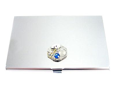 Amazon steampunk watch gear business card holder with blue steampunk watch gear business card holder with blue swarovski crystal colourmoves