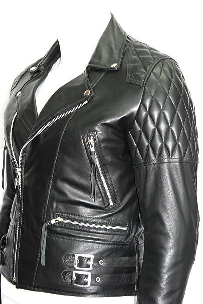 233 speed hombre chaqueta de moto de cuero de brando moto negro vaca real hide: Amazon.es: Ropa y accesorios