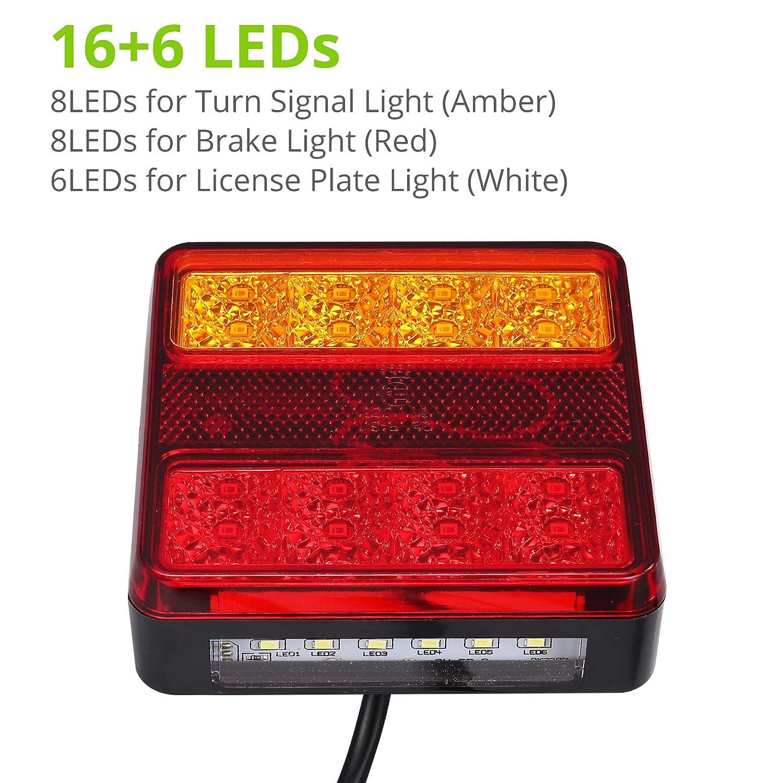 4/luces intermitentes 24/V cami/ón para remolque color naranja blanco y rojo autocaravana