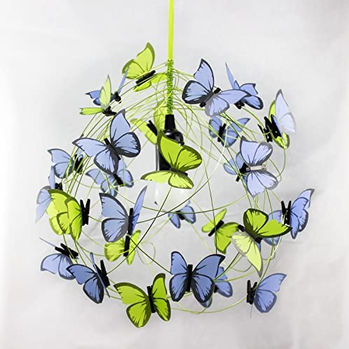 Ceiling lamp with lime green and clear blue butterflies-room decor,butterfly decor,