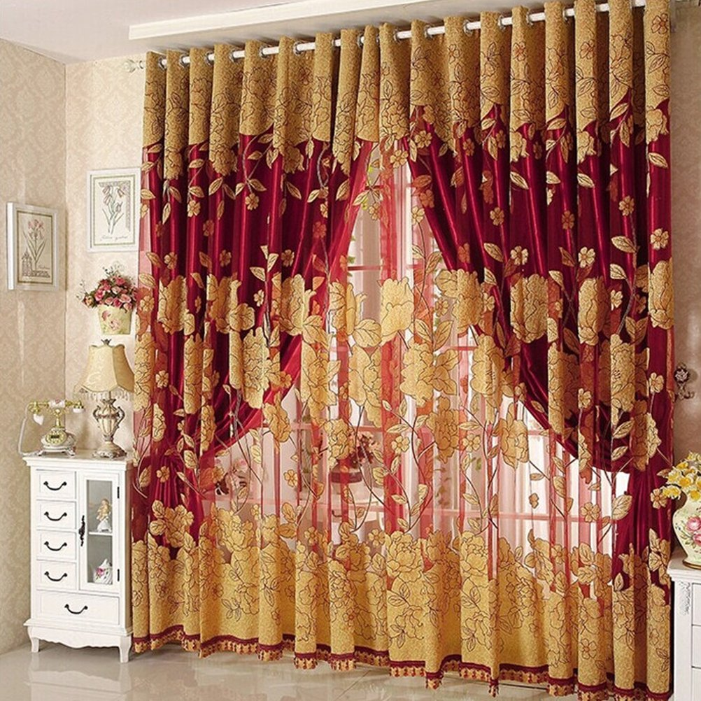 VORCOOL Curtain bedroom Floral Voile Tulle and Blackout Curtains with Eyelets 270/ x 87/ cm in Red Wine
