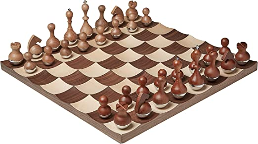 Umbra Wobble Chess Set Wood Metal New
