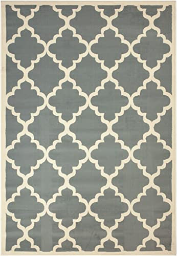 Moroccan Trellis Modern Area Rug Rugs Modela Collection Gray