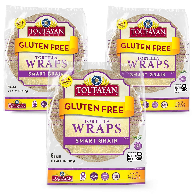 Toufayan Bakery, Smart Grain Gluten Free Tortilla Wraps   Certified Gluten Free   Soy Free   Non-GMO   Vegan   Kosher   Pack of 3