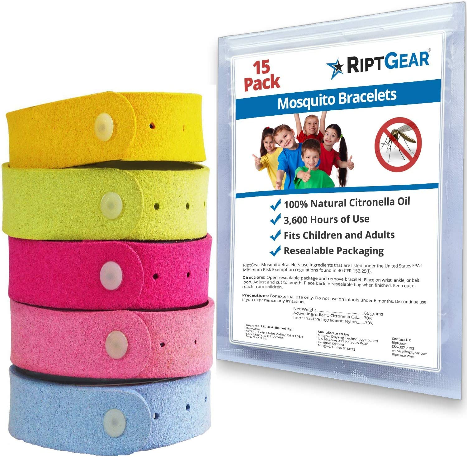 Mosquito Repellent Bracelet (15 Pack) for Kids and Adults - Better Than Spray Lotion or Wipes - Travel Mosquito Bracelets - Natural and Deet Free