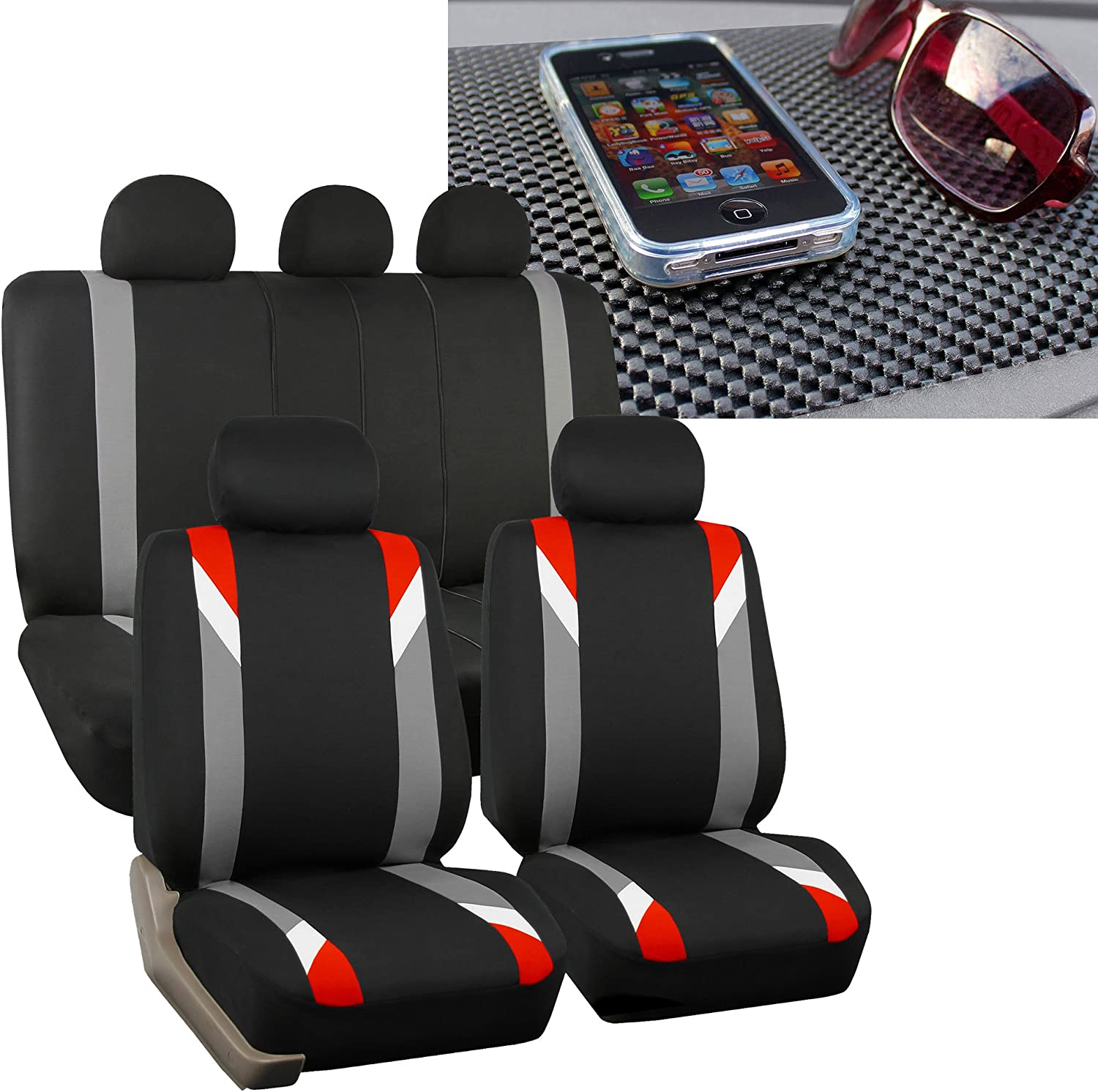 FH Group FH-FB033115 Three Row-Premium Modernistic Seat Covers Red/Black FH1002 Non-Slip Dash Pad- Fit Most Car, Truck, SUV, or Van