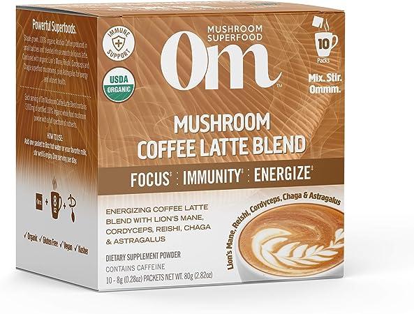 Om Organic Mushroom Superfood Powder, Coffee Latte Blend, 2.82 Ounce (10 Packets), Lions Mane, Cordyceps, Reishi, Chaga, Energy & Mental Clarity Support Supplement