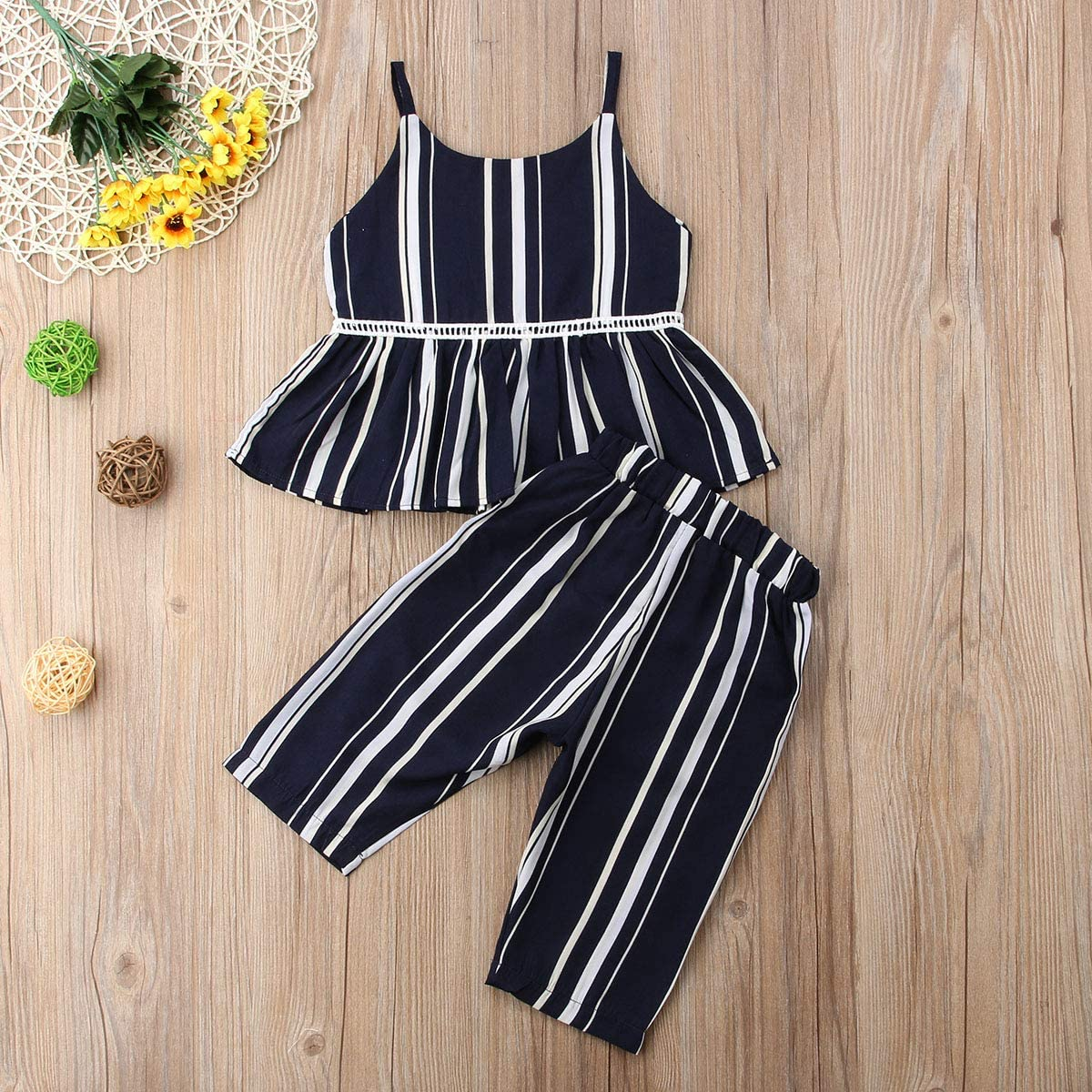 Toddler Baby Girl Sleeveless Solid Color T-Shirt Tops Striped Short Pants Outfits Spring Summer Clothes Set