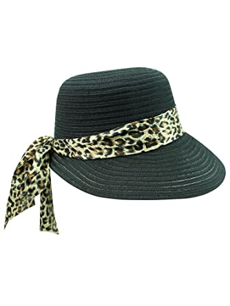 899ab5ea Black Sun Hat With Large Leopard Print Bow at Amazon Women's Clothing  store: Sun Hats