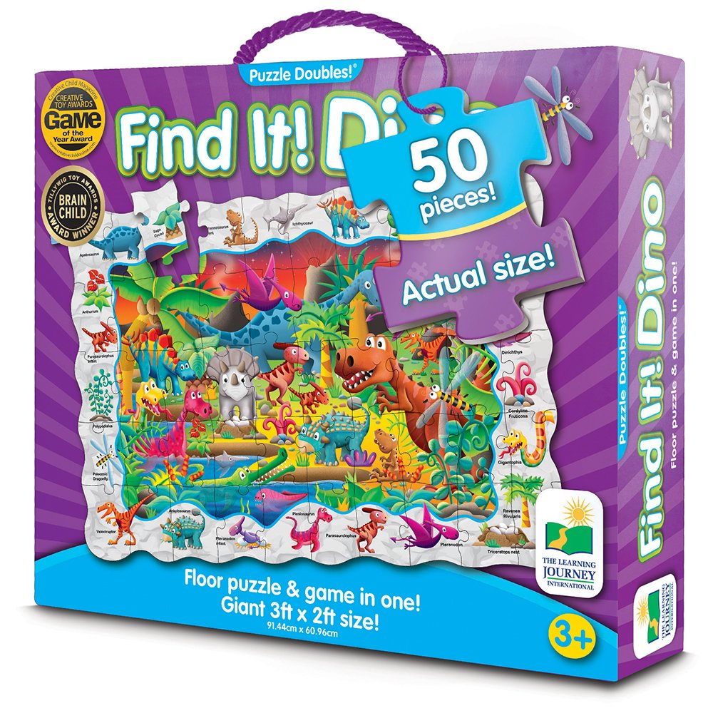 The Learning Journey International PUZZLE DOBLE FIND IT DINOSAURIOS: Amazon.es: Juguetes y juegos