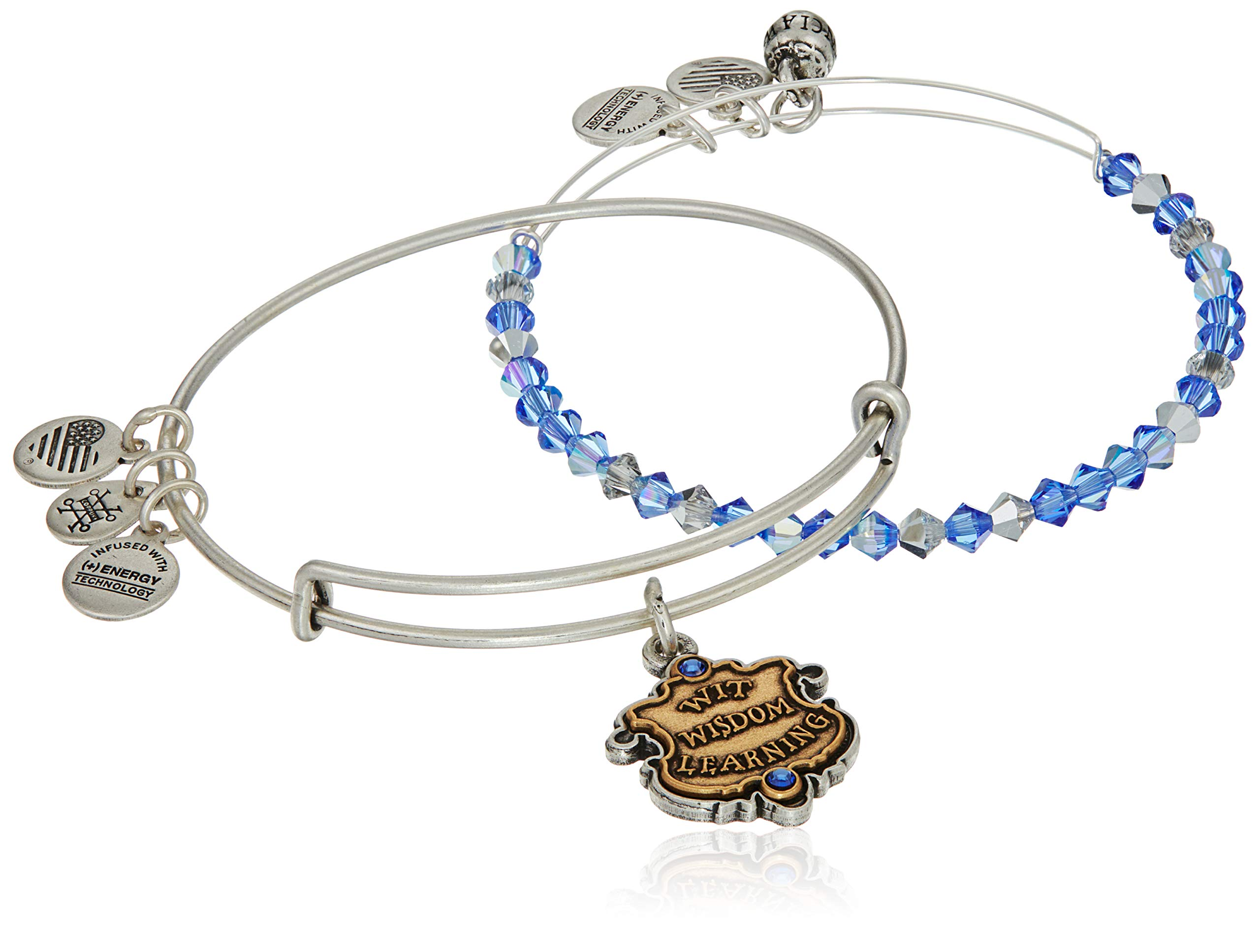 Alex and Ani Women's Harry Potter Ravenclaw Motto Set of 2 Two Tone Bracelet, Rafaelian Silver by Alex and Ani