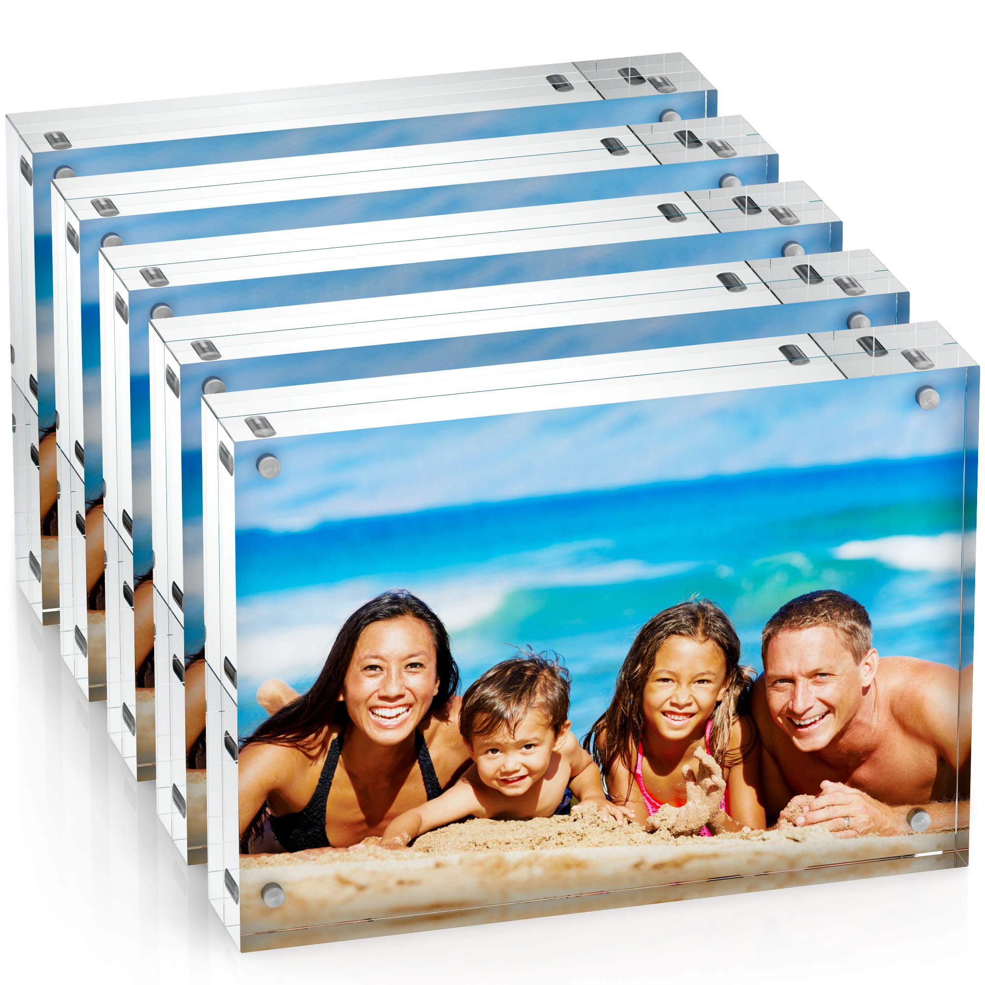 Unum Clear Acrylic 5x7 Picture Frame: Magnetic Floating Picture Frames/Photo Display Stands - Frameless Double Sided Photo Holder - 5 x 7 Inch Acrylic Block Frame for a Desk, Shelf or Table - 5 Pack