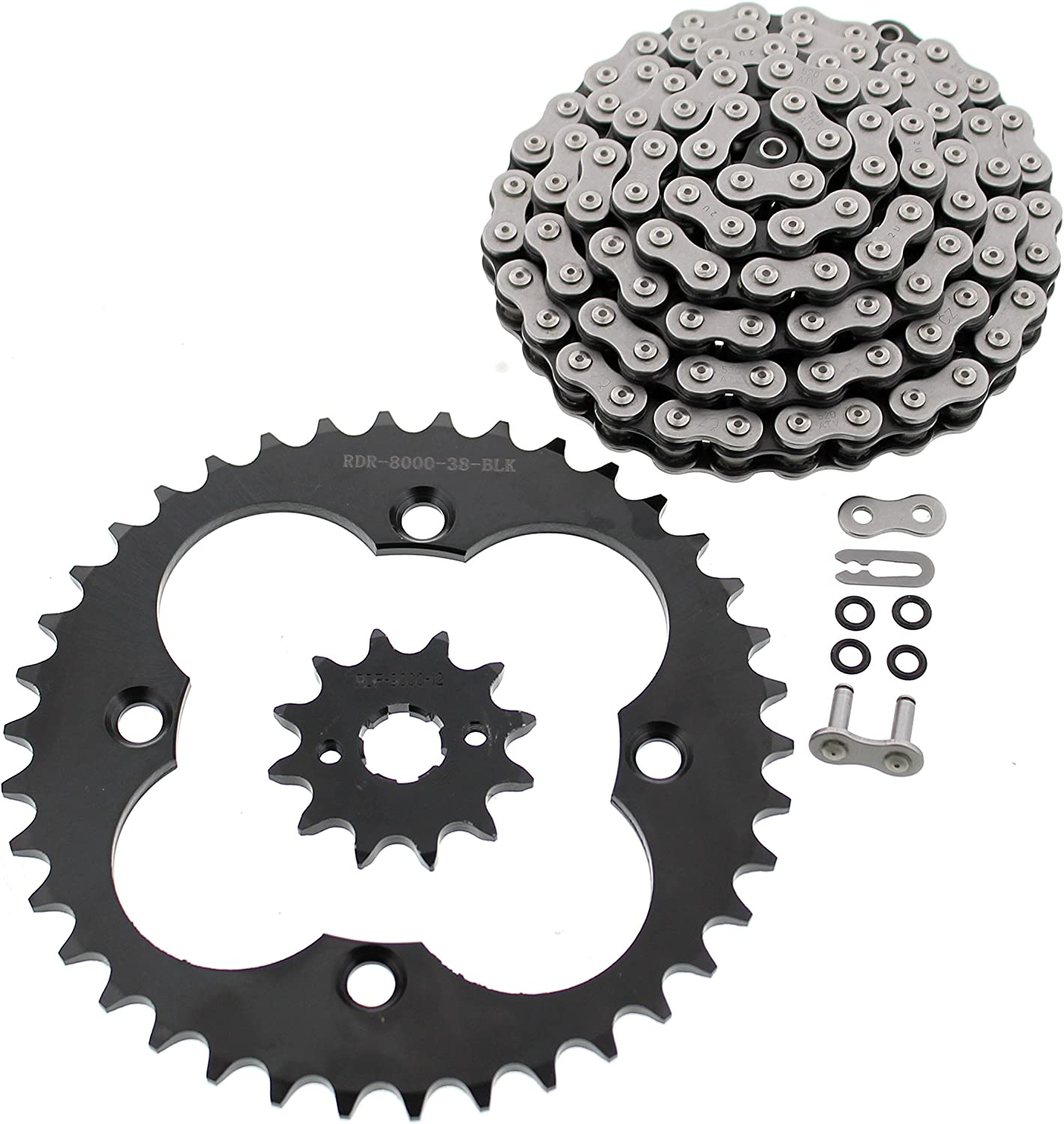 1993 1994 1995 Fits Honda 300EX TRX300EX Yellow O-Ring Chain and Black Sprocket 12//38